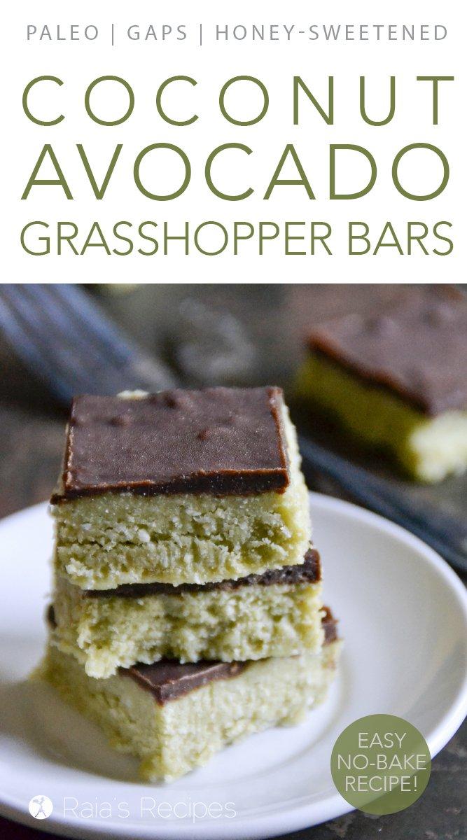 Coconut & Avocado Grasshopper Bars #coconut #avocado #grasshopper #nobake #paleo #glutenfree #dairyfree #peppermint #chocolate #realfood #dessert