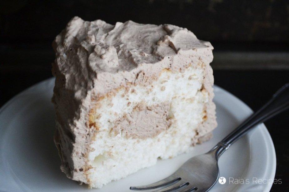 Gluten-Free Chocolate Cream Angel Food Cake | RaiasRecipes.com