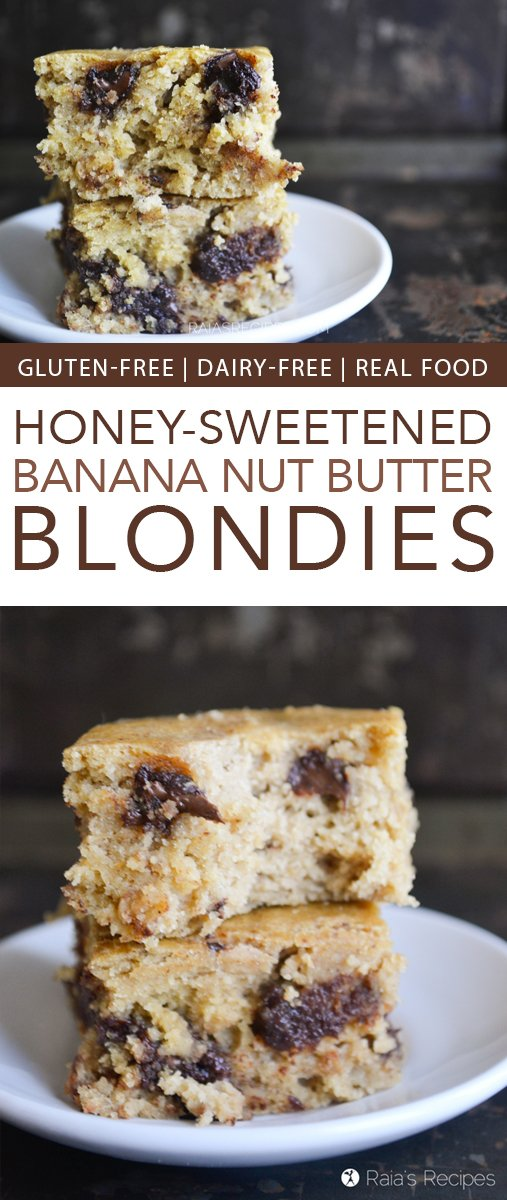 Need a healthy treat? Give these gluten-free Banana Nut Butter Blondies a try! They're free of dairy and refined sugar, too. And I might have just made them for dinner... #dairyfree #refinedsugarfree #glutenfree #dessert #realfood #blondies #banana #nutbutter