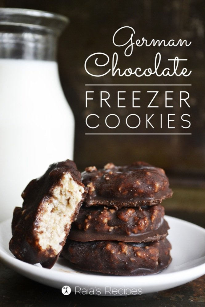German Chocolate Freezer Cookies | grain-free, gluten-free, dairy-free, egg-free, refined sugar-free, paleo, | RaiasRecipes.com