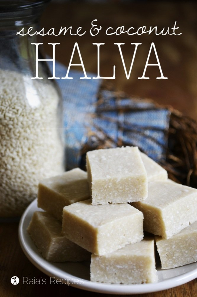 Full of superfood ingredients, this raw, grain-free Sesame & Coconut Halva is quite the nutritious little treat.   RaiasRecipes.com