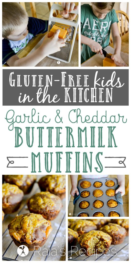 My kids made these fun and tasty gluten-free Garlic & Cheddar Buttermilk Muffins for lunch the other day... I'm one proud momma!