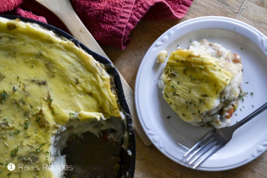 Delicious and comforting, this grain-free Rustic Irish Shepherd's Pie will have you wishing you made a double batch... RaiasRecipes.com