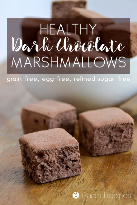 Kick your summer s'mores or homemade hot cocoa up a notch with these Healthy Dark Chocolate Marshmallows! RaiasRecipes.com