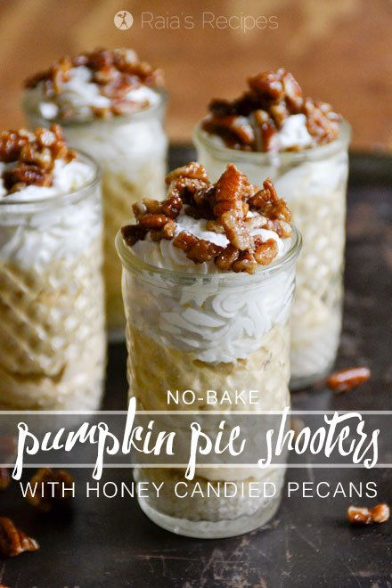 These grain-free, refined sugar-free No-Bake Pumpkin Pie Shooters with Honey Candied Pecans are a delicious, fall-flavored dessert sure to impress! RaiasRecipes.com
