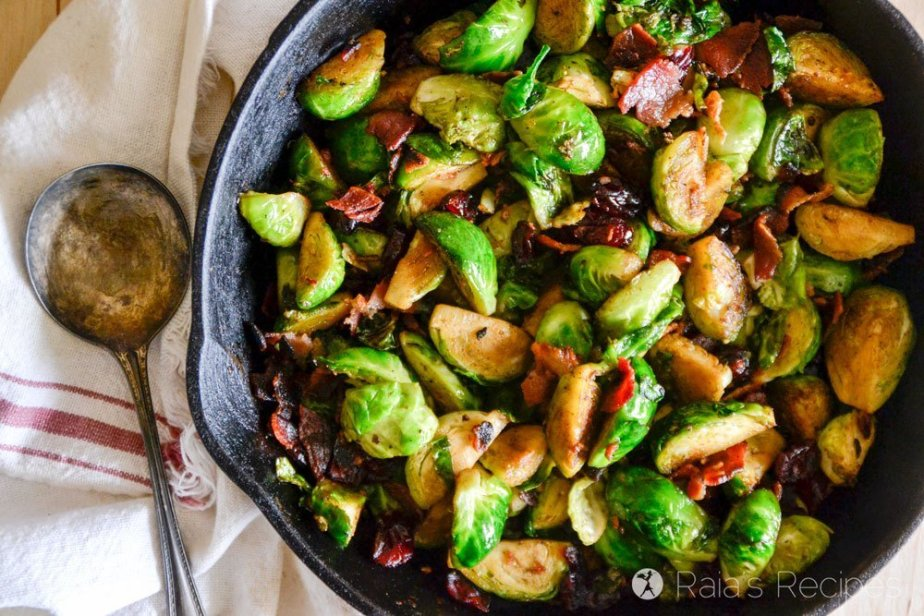 Pan-Fried Brussels Sprouts with Bacon & Dried Cranberries