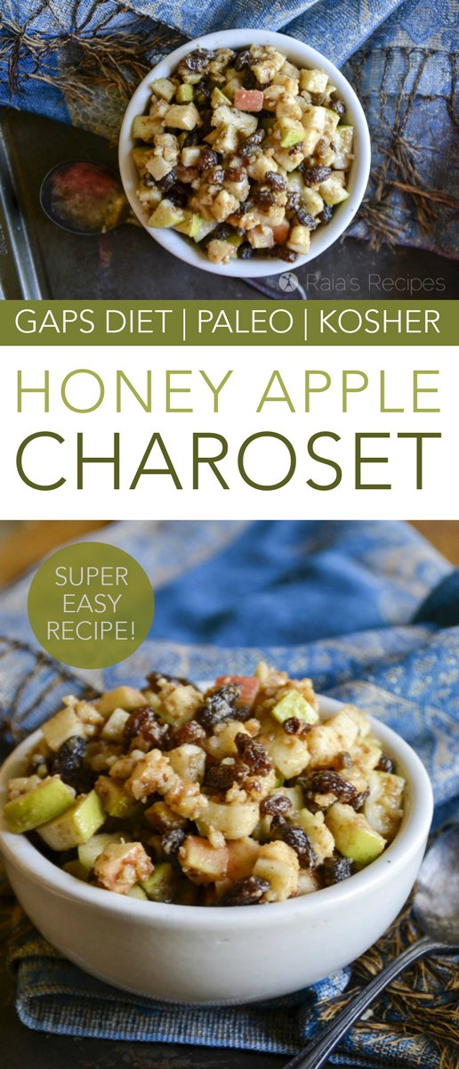 Whether you celebrate Passover or not, this Honey Apple Charoset is an easy and delicious paleo treat that your whole family is sure to enjoy! #pesach #passover #holydays #kosher #charoset #seder #apples #honey #paleo #glutenfree #refinedsugarfree