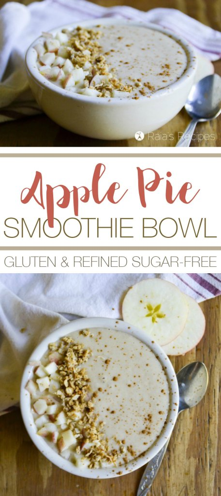 Enjoy apple pie all year 'round with this delicious and healthy Apple Pie Smoothie Bowl! | RaiasRecipes.com