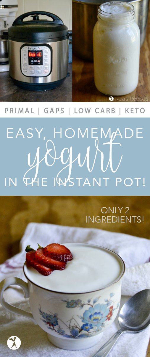 Step-by-step how to make Easy Homemade Yogurt in the Instant Pot! You'll never go back to those silly yogurt makers... #yogurt #glutenfree #primal #gapsdiet #realfood #instantpot #keto #lowcarb
