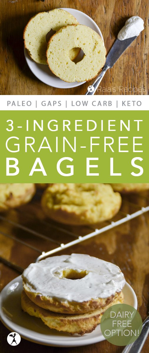 Enjoy breakfast again with these easy, 3-ingredient grain-free bagels! They're perfect for a GAPS-Intro, primal, or low carb diet. #gapsdiet #primal #bagels #lowcarb #keto #realfood