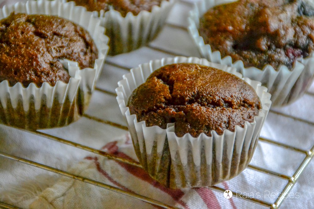 Dark Chocolate Triple Berry Muffins layout side