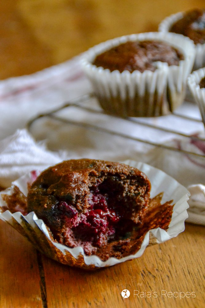 Dark Chocolate Triple Berry Muffins profile bite