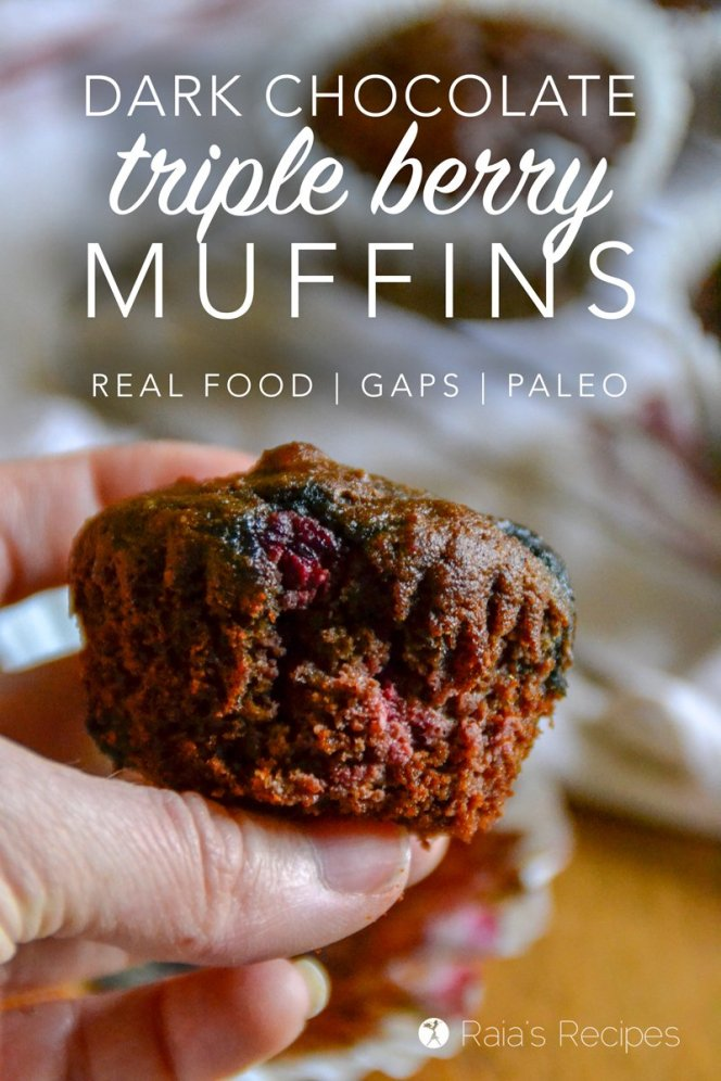 You don't have to be a breakfast person to enjoy these grain, dairy, and refined sugar-free Dark Chocolate Triple Berry Muffins! They taste delicious any time of day!