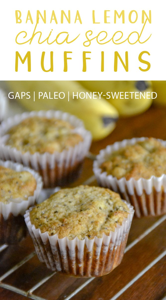 These paleo and GAPS diet-friendly Banana Lemon Chia Seed Muffins will brighten up any day with their perfect muffiny texture and delicious flavor!