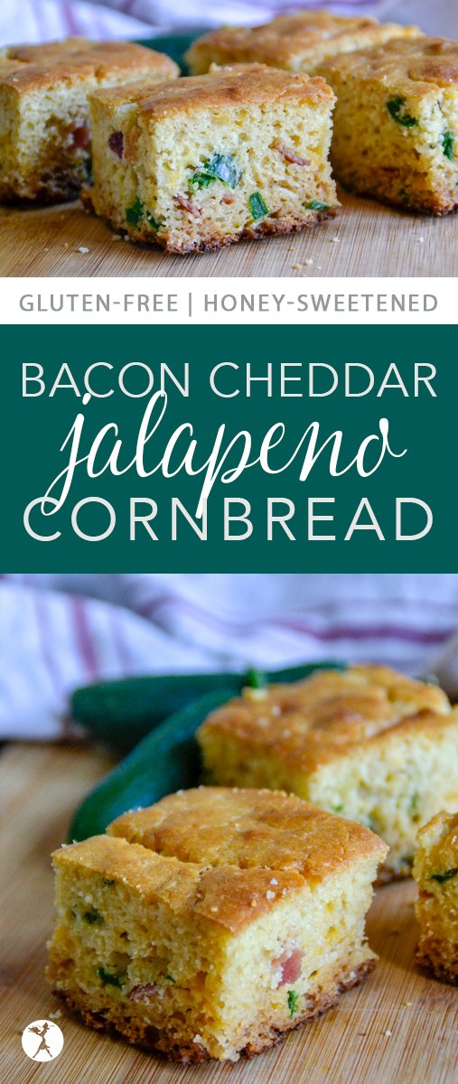 Sweet, savory, spicy, thisBacon Cheddar Jalapeño Cornbread has it all! It's an easy gluten-free recipe and a fun twist on a southern classic. #glutenfree #realfood #refinedsugarfree #cornbread #bacon #cheddar #cheese #jalapeno #sidedish #bread #southerfood #comfortfood