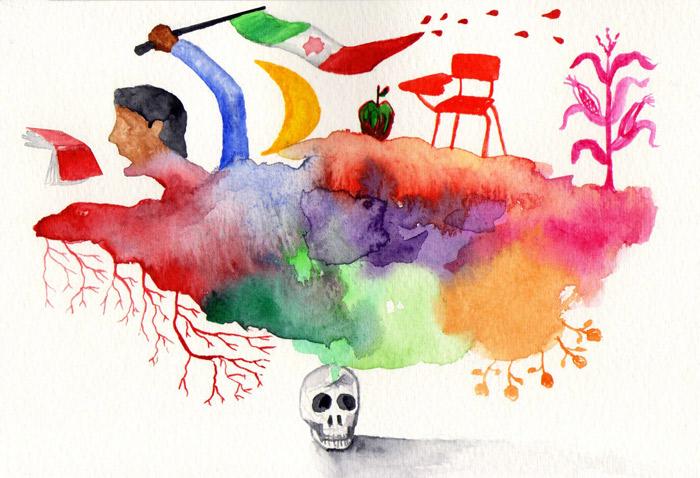 """Ilustración: """"43 semillas"""" por Augusto Metztli"""