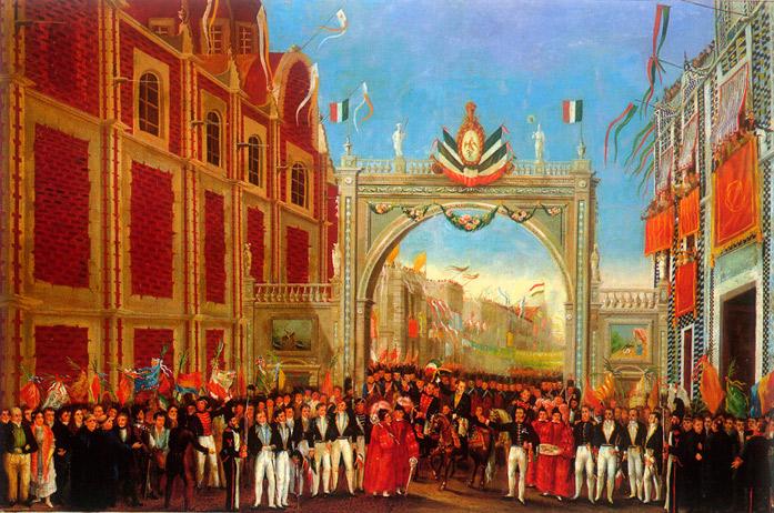 Sección de una pintura anónima, que muestra los elementos decorativos y banderas del arco triunfal a la entrada de San Francisco. Aparece en el libro: de Eduardo Báez, La pintura militar de México en el siglo XIX.
