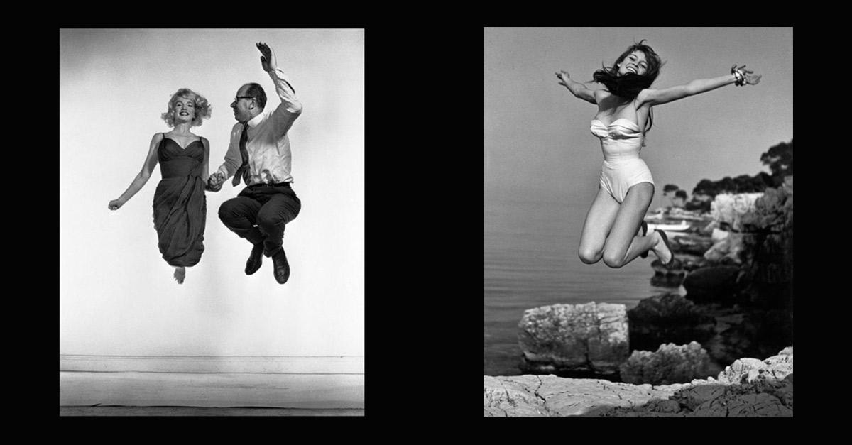 Retratos de la serie Jumps de Philippe Halsman. izquierda: Marilyn Monroe y Halsman. Derecha: Brigitte Bardot.