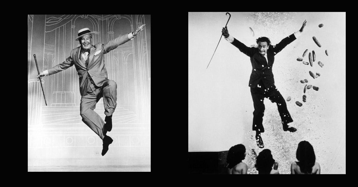 Retratos de la serie Jumps de Philippe Halsman. izquierda: Marilyn Monroe y Halsman. Derecha: Salvador Dalí.