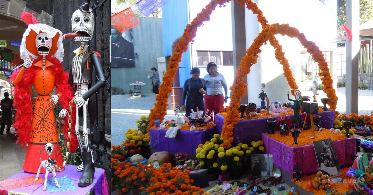 Izquierda: Calacas durante las fiestas de Día de Muertos en Coyoacán, México DF, 2011. Derecha: Ofrenda a Lola Álvarez Bravo, Museo Estudio Diego Rivera y Frida Kahlo, DF, 2011. Fotos: Lola Zavala