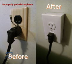 Before and after appliance ground