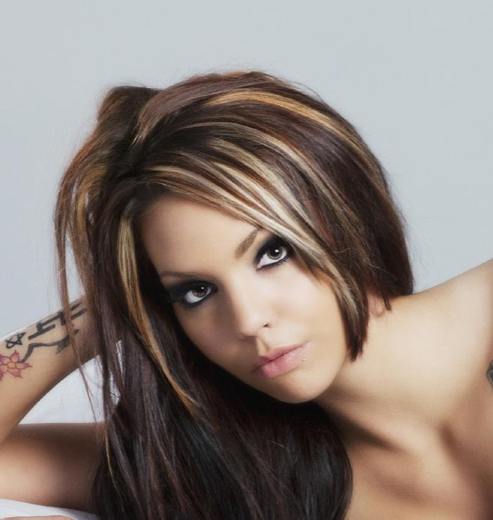 Dark hair with caramel and blonde highlights