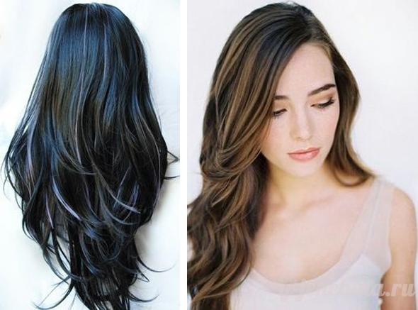 Мелирование тонирование на черные волосы фото