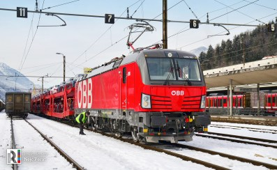 ÖBB 1293 027 with a car train in Jesenice (AT>SI border) 29.01.2019 Photo: Nejc Perat