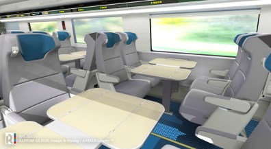 Each seat in the new Acela trainsets will provide spacious, high-end comfort with in-seat lighting and personal electrical outlets