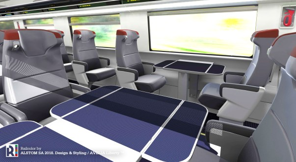 The new Acela trainsets will feature spacious and smooth leather seats, with integrated in-seat lighting and personal electrical outlets.