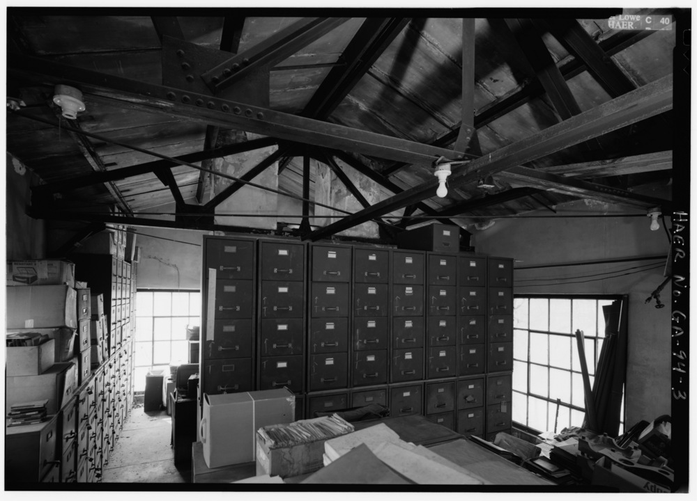 INTERIOR_OF_ARCHIVES_LOOKING_WEST_BUILDING_ERECTED_CIRCA_1927,_1ST_FLOOR_METALLURGICAL_LAB,_2ND_FLOOR_ENGINEERING_DEPT_-_Glover_Machine_Works,_651_Butler_Street,_Marietta,_Cobb_HAER_GA,34-MARI,2-3