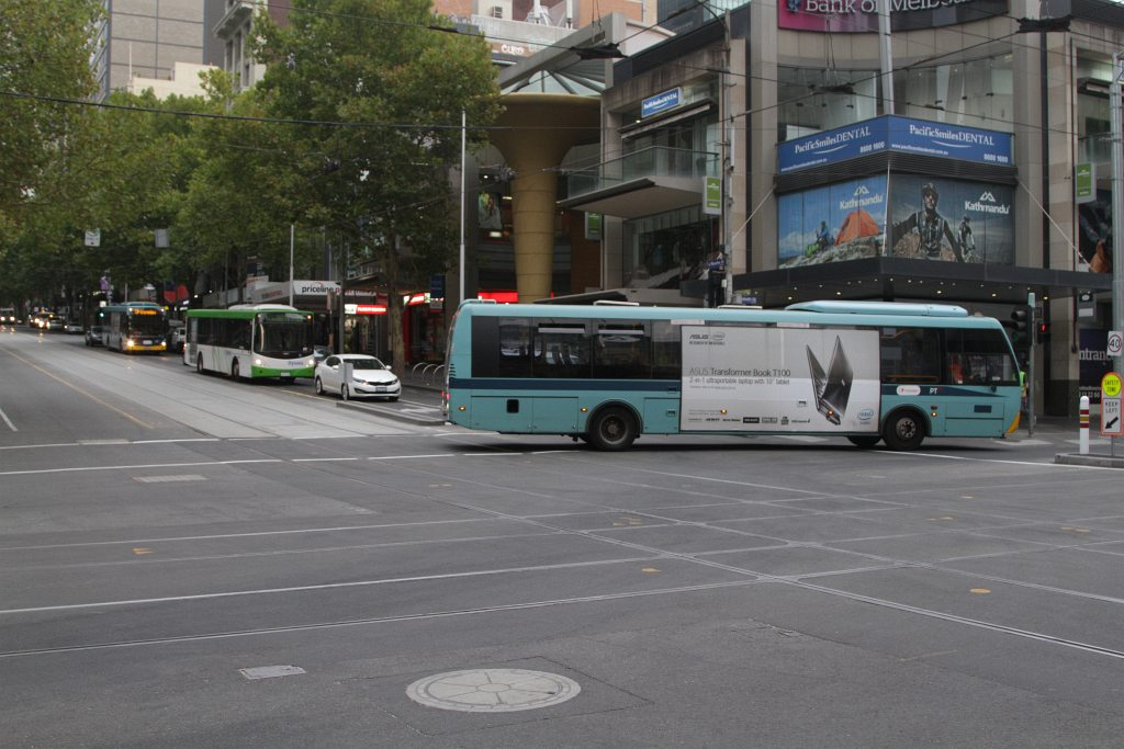 With poles either side of Elizabeth Street blocking his route. the driver needs to reverse - Wongm's Rail Gallery