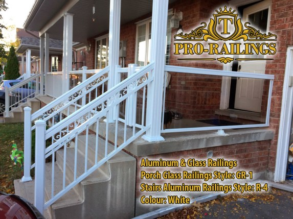 TorontoProRailings-Aluminum&GlassRailings-R-4-Style-White-Stairs-only-combined-with-GR-1-glass-railings-on-porch