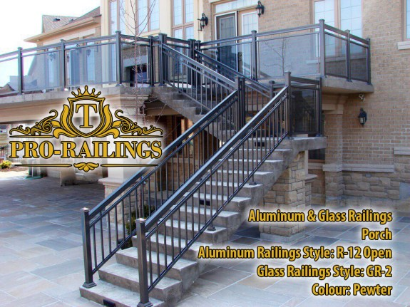 TorontoProRailings-AluminumRailings-R-12-Style-Pewter-Combined-with-Glass-Railings-GR-2Open-Style