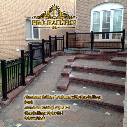 TorontoProRailings-AluminumRailings-R-5-Style-Black-Combined-with-Glass-Railings-GR-1-Style