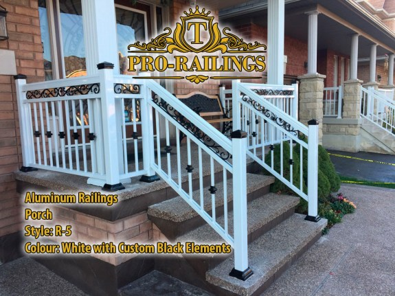 TorontoProRailings-AluminumRailings-R-5-Style-White-w-BlackElements-Porch