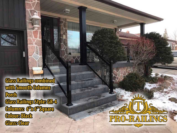 TorontoProRailings-Glass-Railings-Style-GR-1-Colour-Black-Glass-Clear-combined-with-Smooth-Columns-6x6-Square-Porch