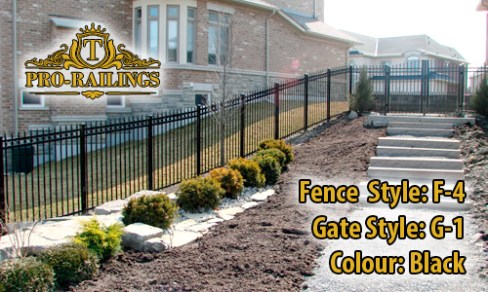 TorontoProRailings-Aluminum-Fence-Style-F-4-Gate-Style-G-1-Colour-Black