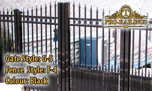 TorontoProRailings-Aluminum-Gate-Style-G-5-Fence-Style-F-4-Colour-Black
