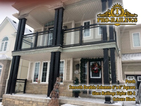 TorontoProRailings-Aluminum-Smooth-Double-Columns-6x-6-Square-Glass-Railings-Style-GR-2-Colour-Black-Porch