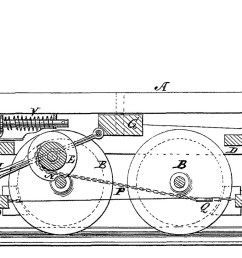 diagram for an automatic brake patented by luther adams in 1873  [ 1500 x 820 Pixel ]