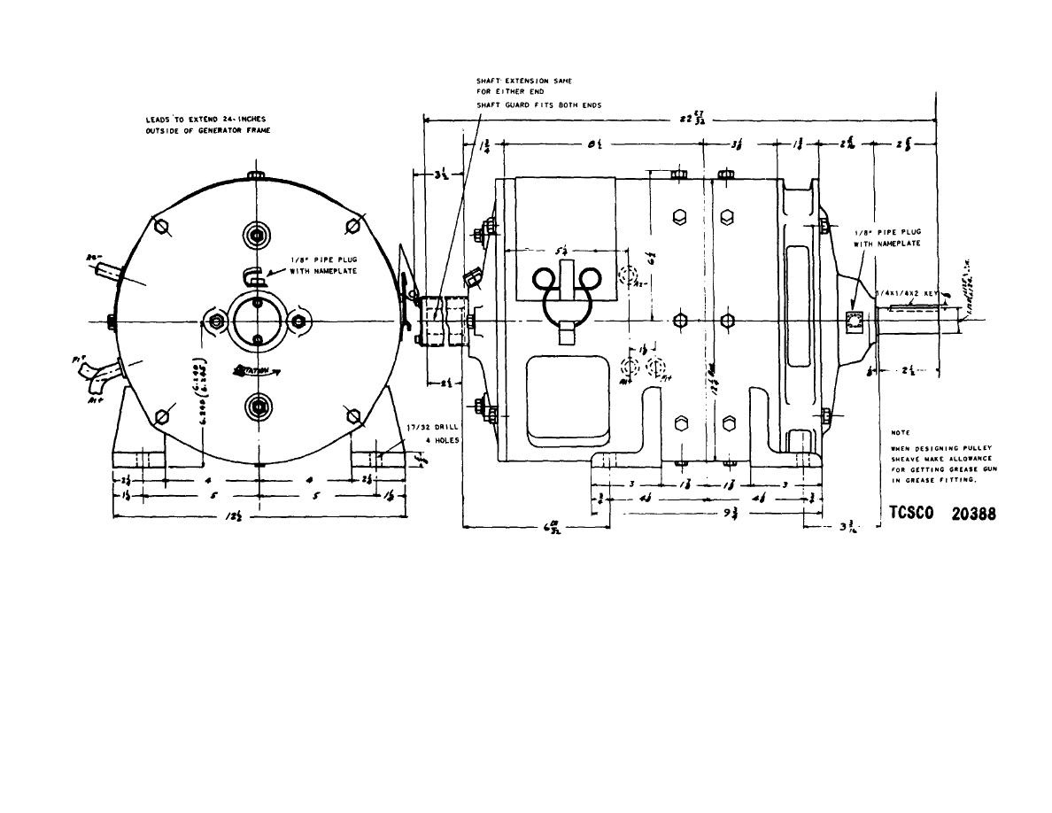 Figure 12. Auxiliary generator outline.