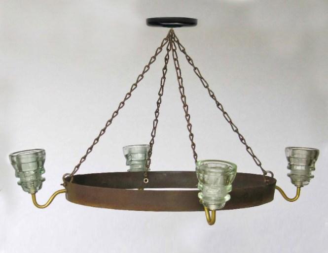Insulator Light Chandelier Wine Barrel Hoop