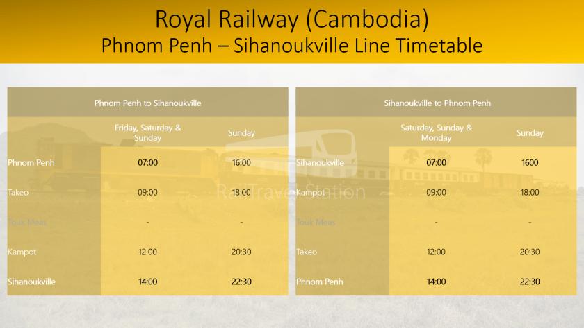 Royal Railway Cambodia Phnom Penh Sihanoukville Line Timetable 201907011