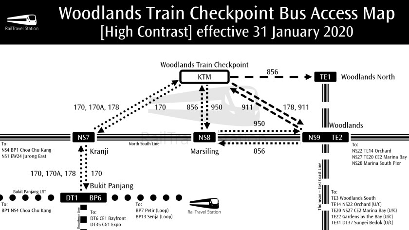 Woodlands Train Checkpoint Bus Access Map High Contrast effective 31 January 2020
