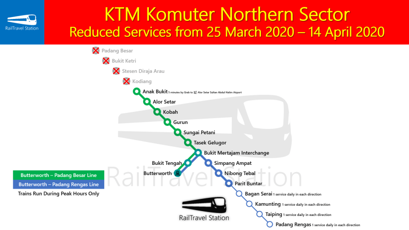 KTM Komuter Northern Sector Map Reduced Services from 25 March 2020 14 April 2020