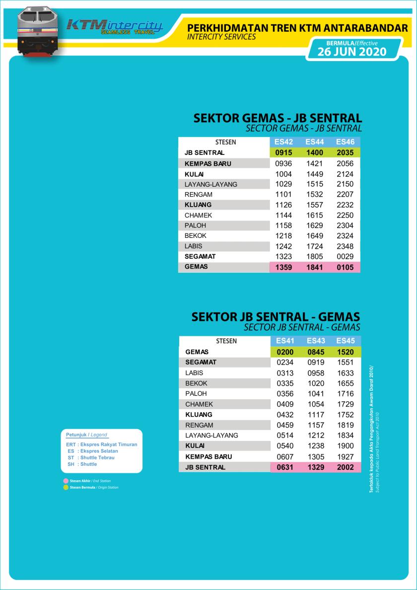 KTM Intercity Ekspres Selatan Timetable 26 June Southbound