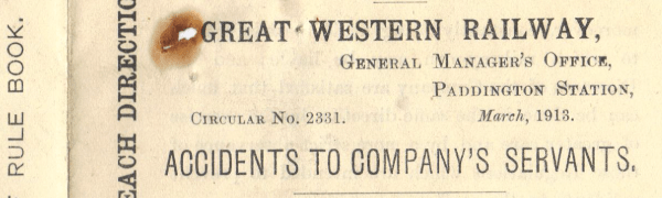 GWR 1913 warning circular. Courtesy Mike Esbester.