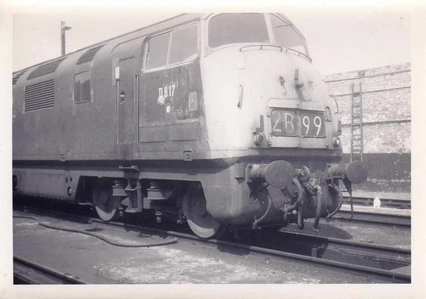 Class 42 817 Foxhound at Exeter St Davids depot June 1971