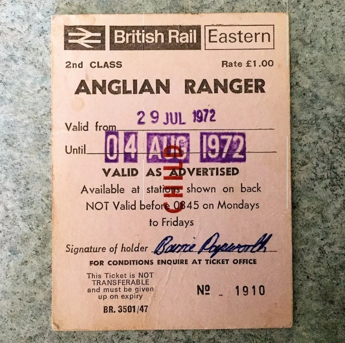 My British Rail Eastern Region Rover - Anglian Ranger ticket that I used in 1972